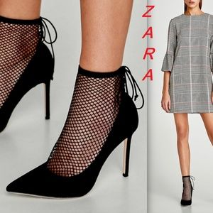 Zara Black High Heel Court Shoes Mesh New Pumps